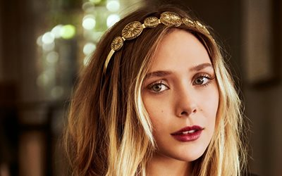 Elizabeth Olsen, portrait, american actress, makeup, photoshoot, gold jewelry