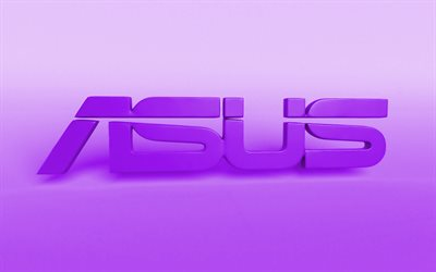 Asus violet logo, creative, violet blurred background, minimal, Asus logo, artwork, Asus