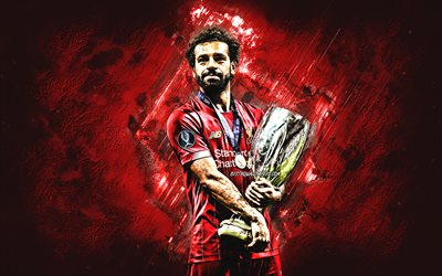 Mohamed Salah, Egyptian soccer player, portrait, Salah with a golden cup, Liverpool FC, red creative background, UEFA Super Cup