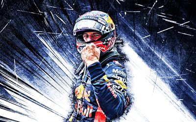 Max Verstappen, fan art, de Formule 1, Red Bull Racing 2019, abstrait bleu rayons, Aston Martin de Red Bull Racing, Max Emilian Verstappen, F1, grunge art, Formula One, Red Bull Racing F1, Verstappen