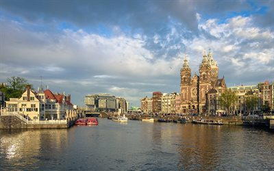 Amsterdam, Basilica of Saint Nicholas, Roman Catholic church, channels, evening, landmark, Amsterdam cityscape, Netherlands
