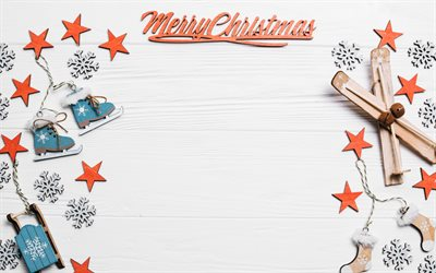 Christmas frame, 4k, white wooden backgrounds, Merry Christmas, new year decorations, Christmas decorations, Happy New Year, xmas decorations, christmas decorations, xmas frames, New Years concerts