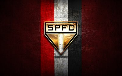 Sao Paulo FC, golden logo, Serie A, red metal background, football, Sao Paulo, brazilian football club, Sao Paulo FC logo, soccer, Brazil, SPFC