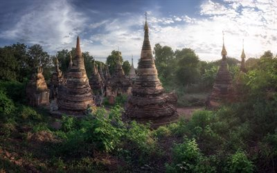 Mandalay, old buildings, jungle, ancient temples, landmark, evening, sunset, Myanmar