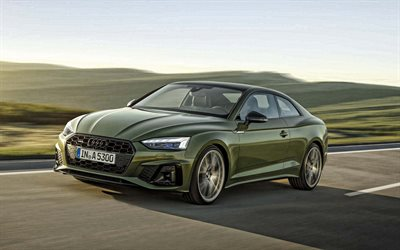 Audi A5 Coupe, 2020, front view, exterior, green coupe, new green A5 Coupe, German cars, Audi