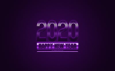 appy New Year 2020, Violet 2020 background, Violet metal 2020 background, 2020 concepts, Christmas, 2020, Violet carbon texture
