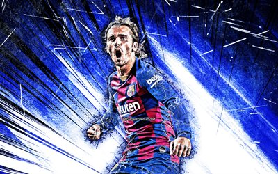Antoine Griezmann, greunge art, Barcelona FC, french footballers, LaLiga, striker, Barca, Griezmann, forward, football, blue abstract rays, FCB, soccer, Griezmann Barcelona, La Liga, Spain