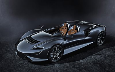 McLaren Elva, 2021, front view, exterior, roadster, carbon fibre chassis, new gray Elva, supercar, sports cars, McLaren