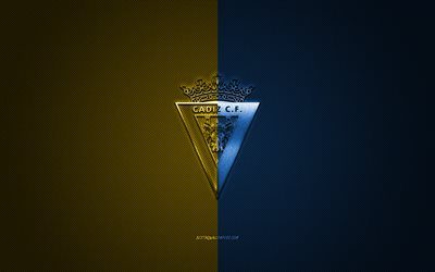 Cadiz CF, Spanish football club, La Liga 2, yellow blue logo, yellow blue carbon fiber background, football, Cadiz, Spain, Cadiz CF logo