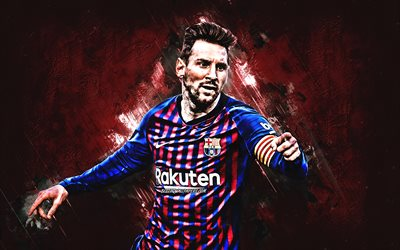Lionel Messi, FC Barcelona, Argentinean soccer player, burgundy stone background, portrait, La Liga, football stars, Leo Messi, Barcelona, football