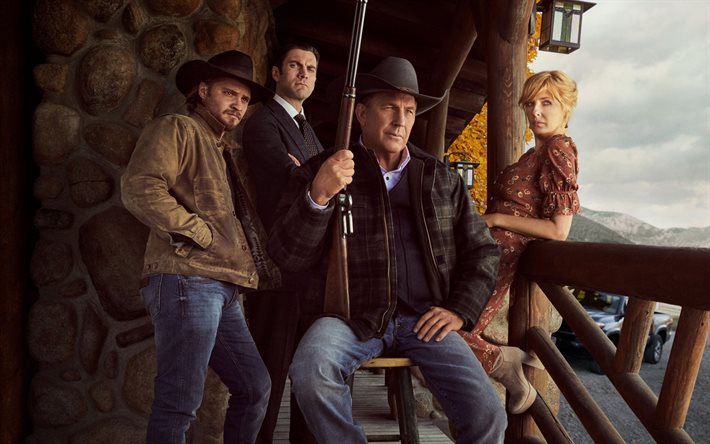 Yellowstone, poster, main characters, promo materials, Kevin Costner, Kelly Reilly, Luke Grimes