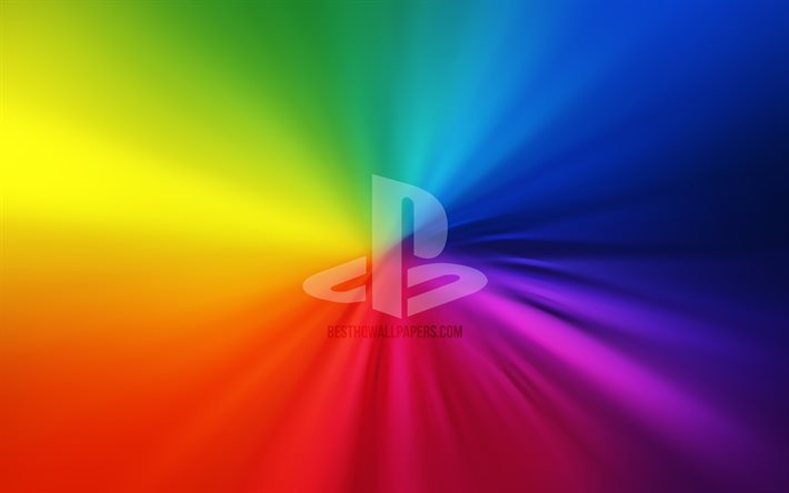 PlayStation logo, 4k, vortex, rainbow backgrounds, creative, artwork, brands, PlayStation
