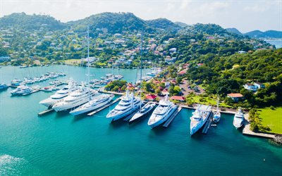 Saint Lucia, sea, bay, Caribbean, tropical islands, yachts, sailboats