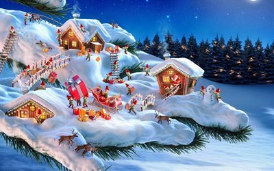 New Years Eve, forest, christmas, elves, winter, snow