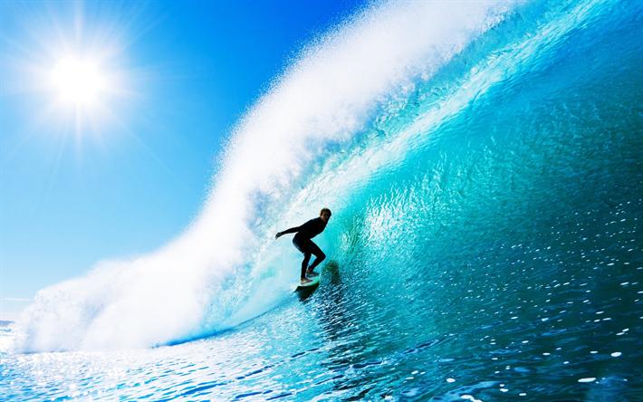 Download Wallpapers Surfer 4k Ocean Waves Summer