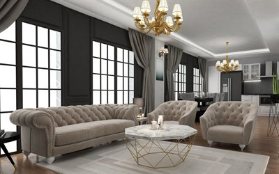 stylish living room interior, gray living room, classic style, modern interior design