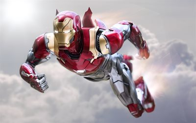 Flying IronMan, 4k, sky, IronMan in New Suit superheroes, DC Comics, Iron Man, IronMan