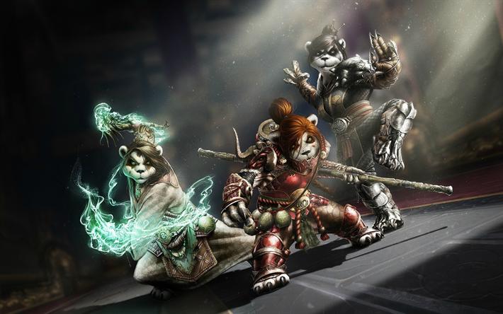 Download Wallpapers Monk Pandaren Wow Characters Darkness