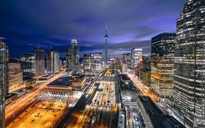 Toronto, night, CN Tower, City Lights, Canada