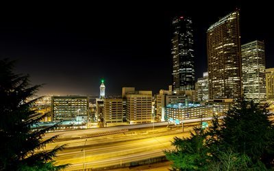 Seattle, skyscrapers, night, road, America, USA