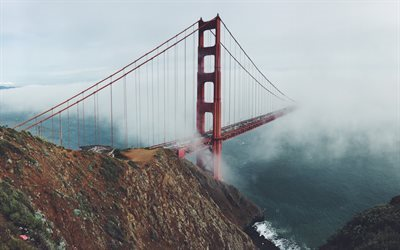 Bridge, Golden Gate, fog, San Francisco, USA, California