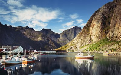 Reine, bay, pier, mountain, Lofoten islands, summer, Norway