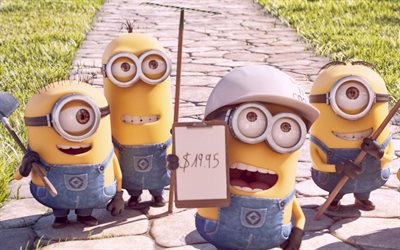 Minions, workers, Despicable Me, 3D-animation, Funny Minions