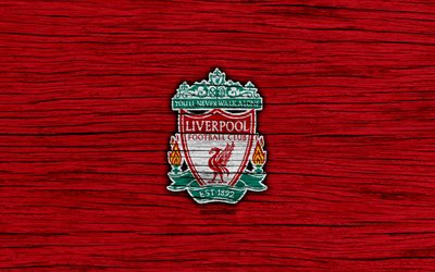 Liverpool, 4k, Premier League, logo, England, wooden texture, FC Liverpool, soccer, football, Liverpool FC