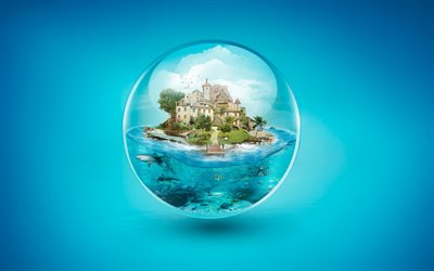 separate world, bubble, castle, tropical island, underwater world, my world concepts