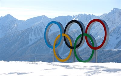 Pyeongchang 2018, 4k, 2018 Winter Olympic Games, Olympic rings, South Korea