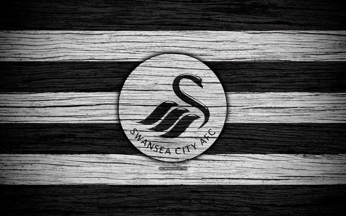 Download Wallpapers Swansea City, 4k, Premier League, Logo