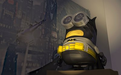 Minion Batman, art, Minions, superheroes, Despicable Me, 3D-animation, Batman