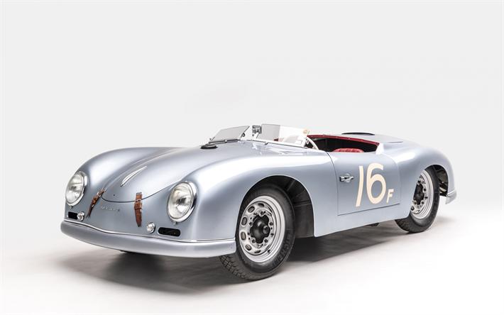 Porsche 356 1953 Retro Sports Car Silver Convertible German Cars