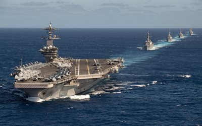 USS Theodore Roosevelt, CVN-71, american nuclear carrier, USS Pinckney, DDG-91, US Navy, USA, North ocean, Carrier Strike Group 9, american warships