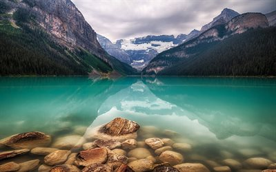 Lake Louise, mountain lake, azure lake, mountain landscape, emerald lake, Alberta, Banff National Park, Canada