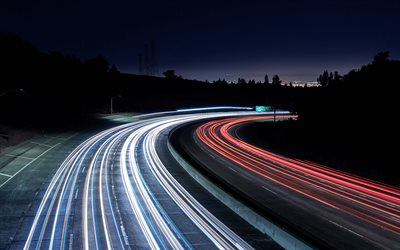 highway lights, night, car traffic, motion blur, road, car lights, highway