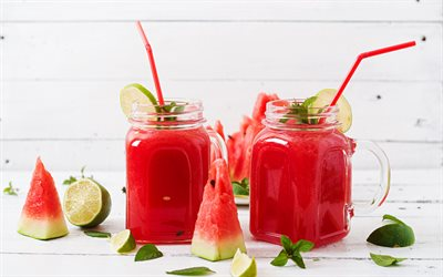 watermelon smoothie, summer smoothies, glass smoothie cups, watermelon, red smoothie