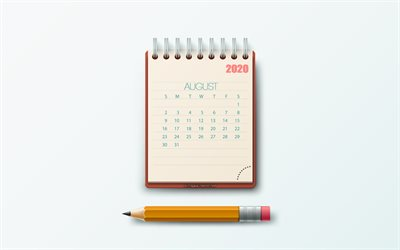 August 2020 Calendar, notepad, gray background, 2020 summer calendars, August, creative art, 2020 August calendar, 2020 calendars