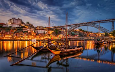Porto at evening, portuguese cities, harbor, Portugal, Europe, Porto