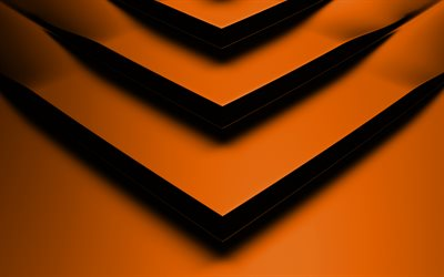 orange 3D arrow, 4k, creative, geometric shapes, arrows, 3D arrows, orange backgrounds, orange arrows, geometry, background with arrows