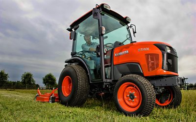 Kubota ST401, picking grass, 2020 tractors, agricultural machinery, orange tractor, HDR, harvest, tractor in the field, agriculture, Kubota