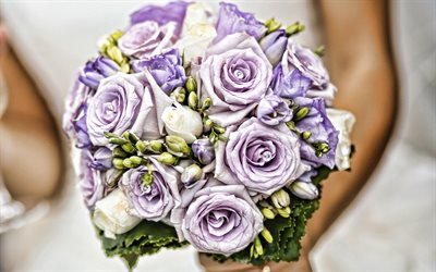 bridal bouquet, 4k, wedding bouquet, purple roses, roses bouquet, bride, beautiful flowers, roses, wedding concepts