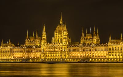 Budapest, Hungarian Parliament Building, Parliament of Budapest, evening, night, Danube river, Budapest landmark, Hungary