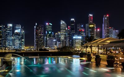 Singapore, night, skyscrapers, modern buildings, night sky, Singapore cityscape