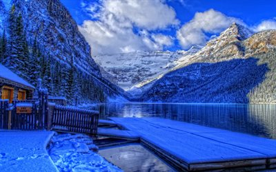 Banff National Park, winter, Canadian landmarks, HDR, Alberta, Canadian Rockies, Canada, beautiful nature
