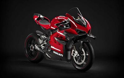 Ducati Superleggera V4, 2020, front view, exterior, sport bike, new red-black Superleggera V4, Italian sports bikes, Ducati