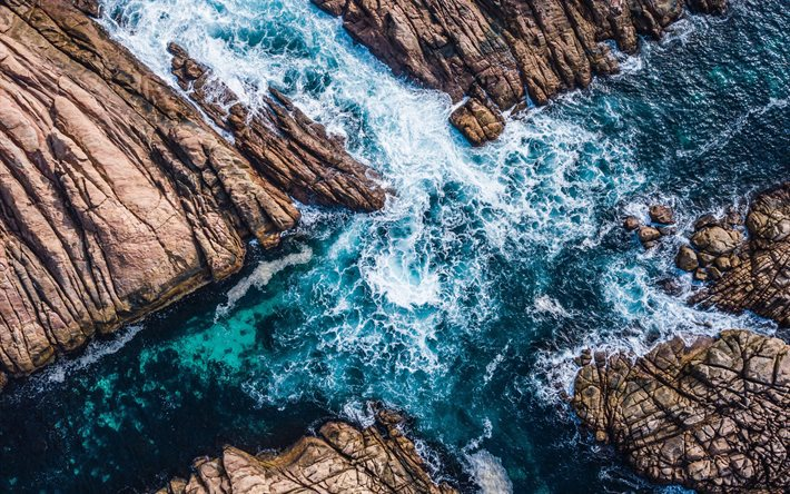 rocky coast, aero view, view from above, sea aero view, coast, seascape, waves, storm
