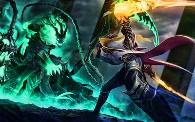 Lucian and Thresh, MOBA, League of Legends, 2020 games, warriors, artwork, Thresh League of Legends, Lucian League of Legends
