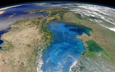 Black Sea from space, Europe from space, Earth, Turkey from space, ground surface