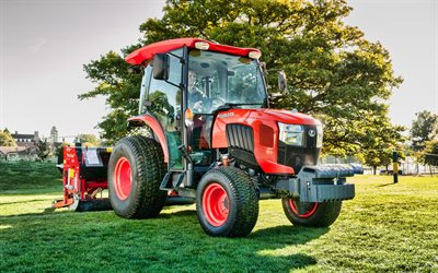 Kubota L2602, picking grass, 2020 tractors, agricultural machinery, orange tractor, HDR, harvest, agriculture, Kubota